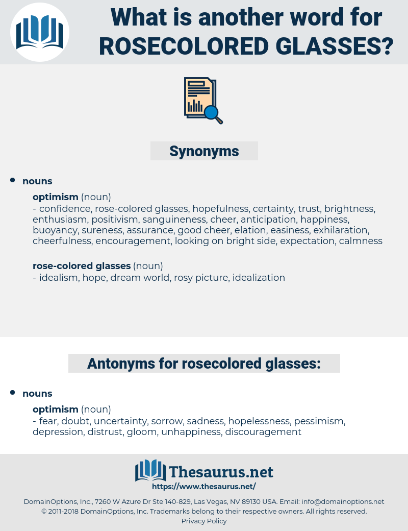 rosecolored glasses, synonym rosecolored glasses, another word for rosecolored glasses, words like rosecolored glasses, thesaurus rosecolored glasses