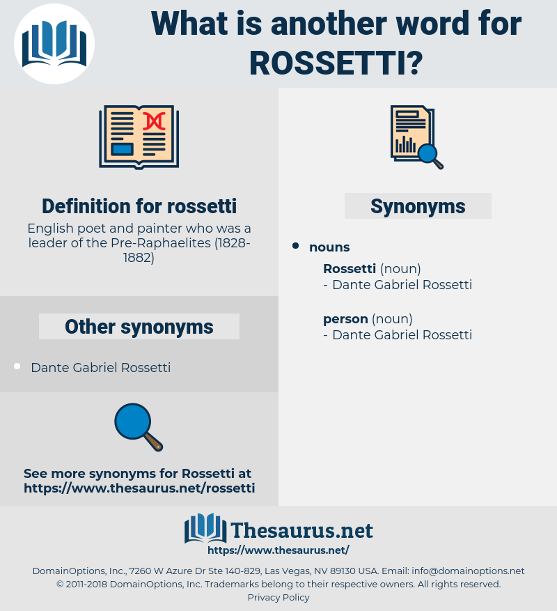 rossetti, synonym rossetti, another word for rossetti, words like rossetti, thesaurus rossetti