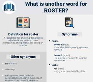 roster, synonym roster, another word for roster, words like roster, thesaurus roster