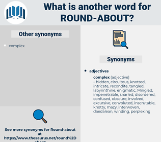 round-about, synonym round-about, another word for round-about, words like round-about, thesaurus round-about