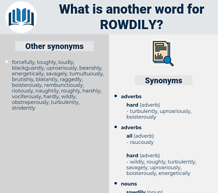 rowdily, synonym rowdily, another word for rowdily, words like rowdily, thesaurus rowdily