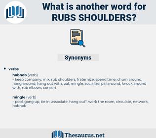 rubs shoulders, synonym rubs shoulders, another word for rubs shoulders, words like rubs shoulders, thesaurus rubs shoulders