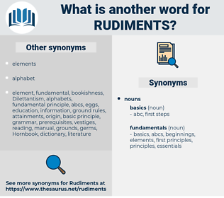 rudiments, synonym rudiments, another word for rudiments, words like rudiments, thesaurus rudiments
