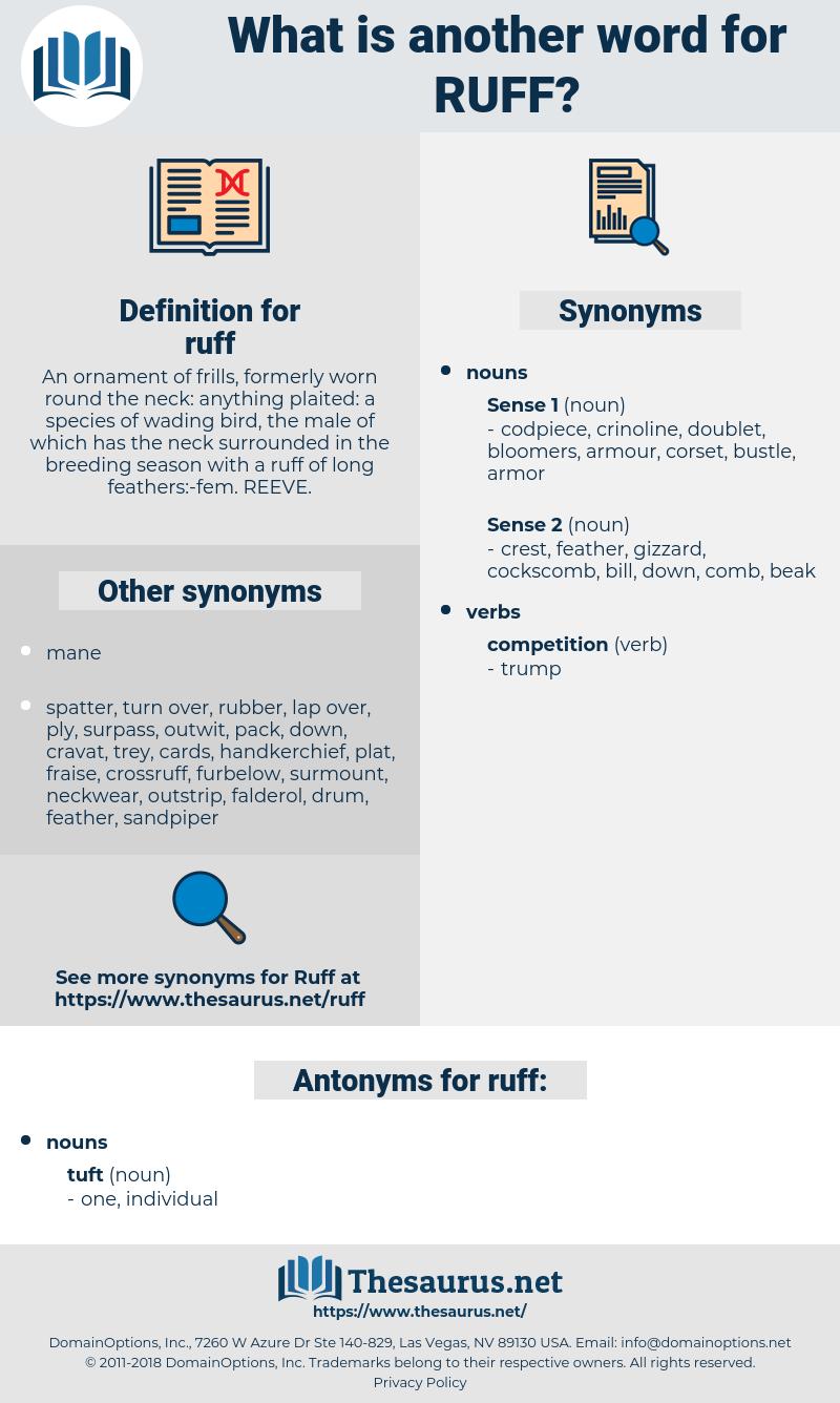 ruff, synonym ruff, another word for ruff, words like ruff, thesaurus ruff