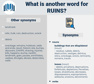 ruins, synonym ruins, another word for ruins, words like ruins, thesaurus ruins