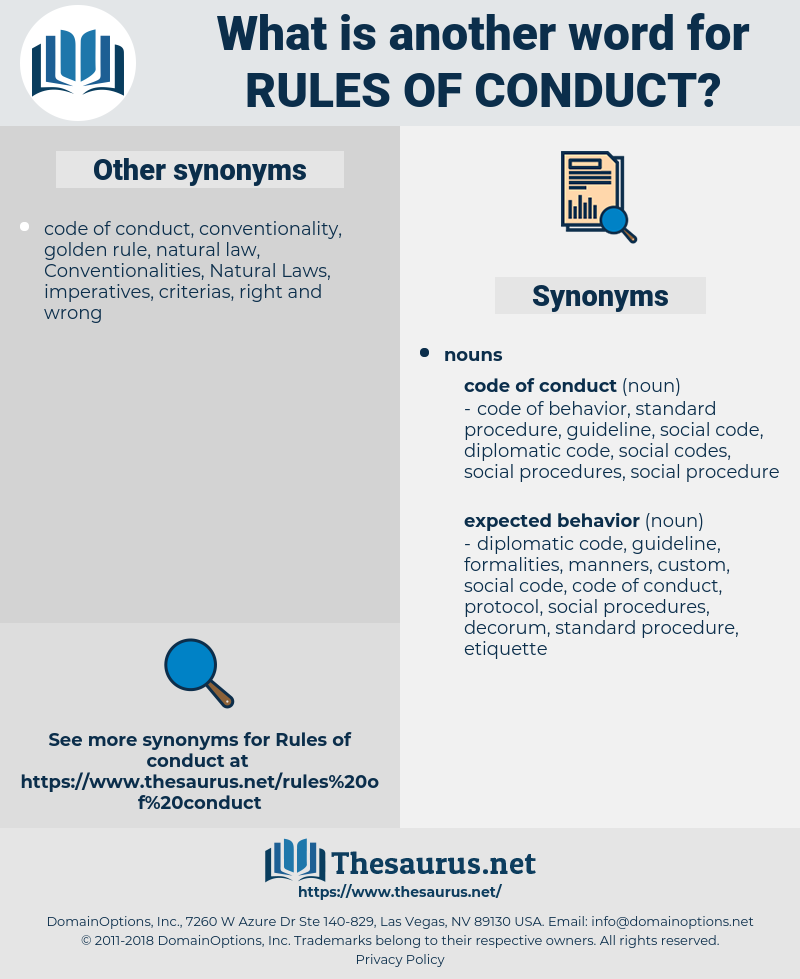 rules of conduct, synonym rules of conduct, another word for rules of conduct, words like rules of conduct, thesaurus rules of conduct