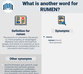 rumen, synonym rumen, another word for rumen, words like rumen, thesaurus rumen
