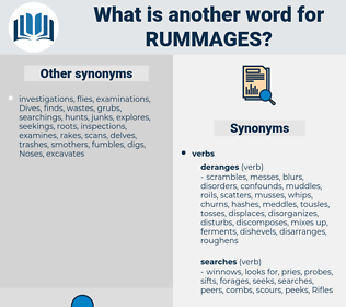 rummages, synonym rummages, another word for rummages, words like rummages, thesaurus rummages