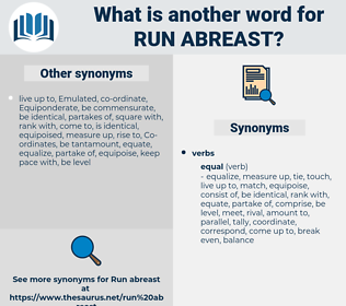 run abreast, synonym run abreast, another word for run abreast, words like run abreast, thesaurus run abreast