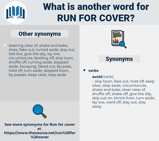 run for cover, synonym run for cover, another word for run for cover, words like run for cover, thesaurus run for cover