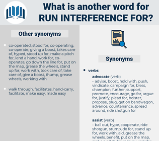 run interference for, synonym run interference for, another word for run interference for, words like run interference for, thesaurus run interference for