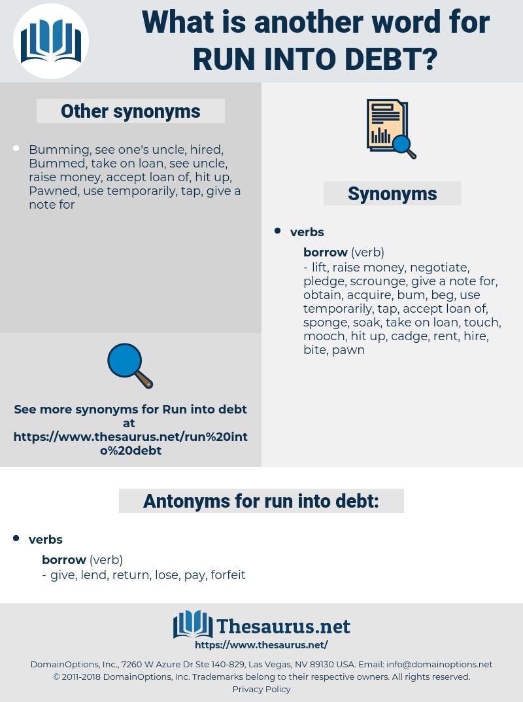 run into debt, synonym run into debt, another word for run into debt, words like run into debt, thesaurus run into debt