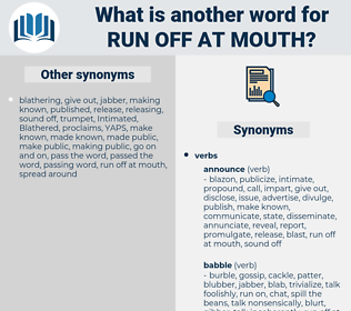 run off at mouth, synonym run off at mouth, another word for run off at mouth, words like run off at mouth, thesaurus run off at mouth