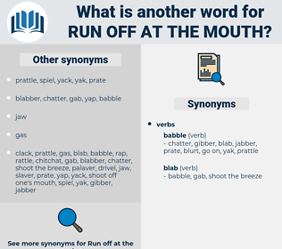 run off at the mouth, synonym run off at the mouth, another word for run off at the mouth, words like run off at the mouth, thesaurus run off at the mouth