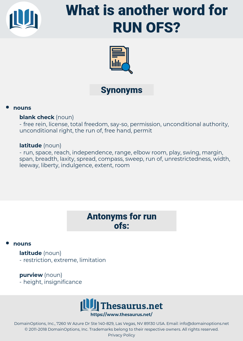run ofs, synonym run ofs, another word for run ofs, words like run ofs, thesaurus run ofs