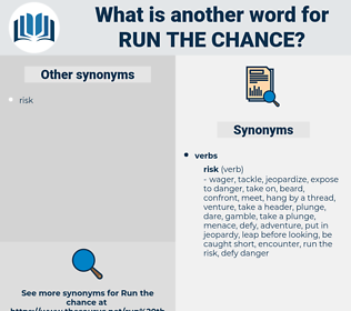 run the chance, synonym run the chance, another word for run the chance, words like run the chance, thesaurus run the chance