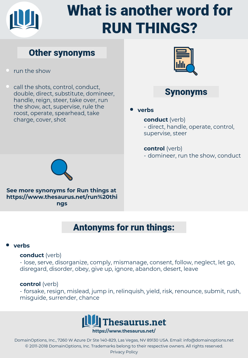 run things, synonym run things, another word for run things, words like run things, thesaurus run things