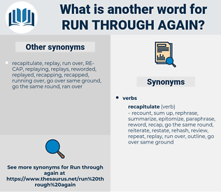 run through again, synonym run through again, another word for run through again, words like run through again, thesaurus run through again
