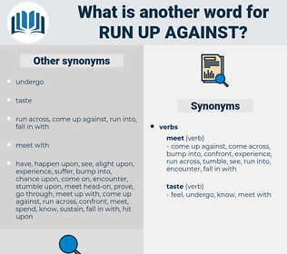 run up against, synonym run up against, another word for run up against, words like run up against, thesaurus run up against