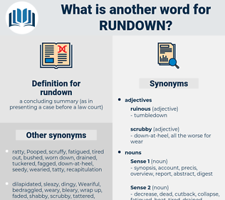 rundown, synonym rundown, another word for rundown, words like rundown, thesaurus rundown