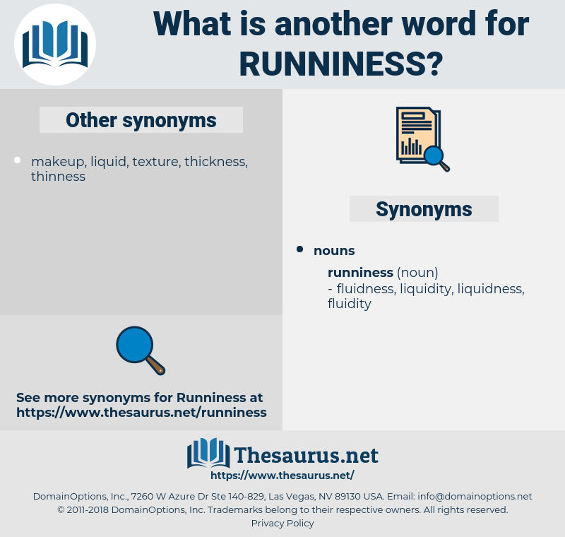 runniness, synonym runniness, another word for runniness, words like runniness, thesaurus runniness