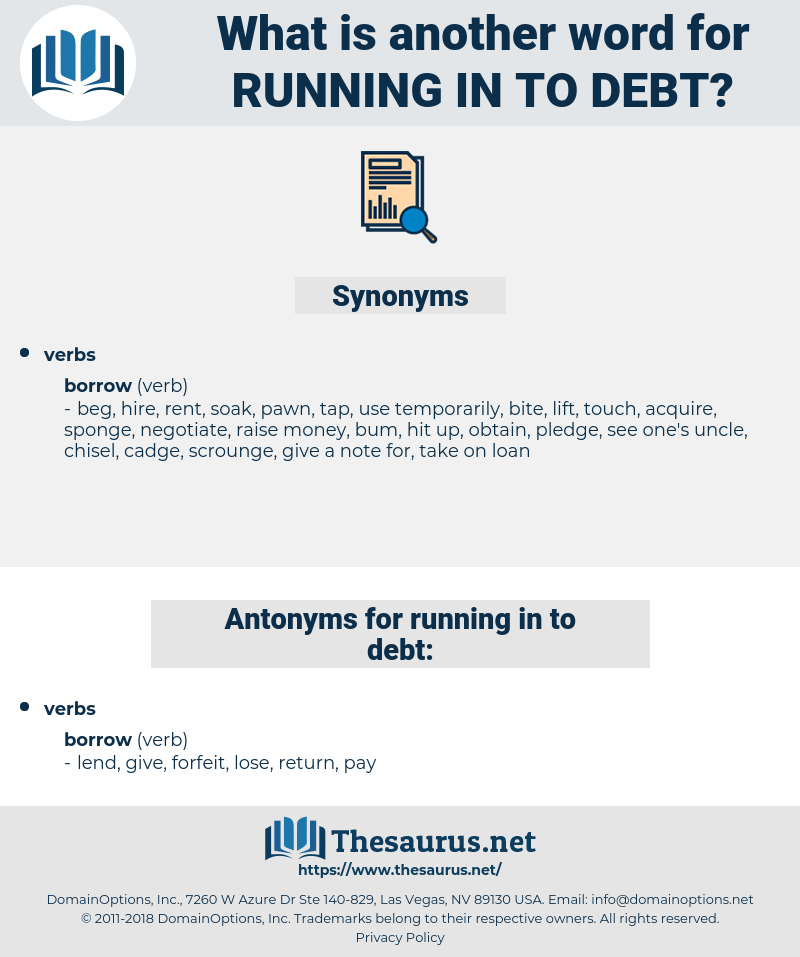 running in to debt, synonym running in to debt, another word for running in to debt, words like running in to debt, thesaurus running in to debt
