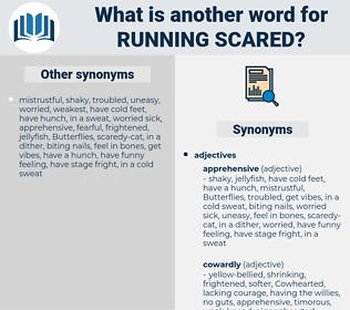 running scared, synonym running scared, another word for running scared, words like running scared, thesaurus running scared