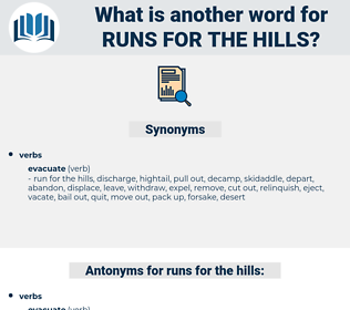 runs for the hills, synonym runs for the hills, another word for runs for the hills, words like runs for the hills, thesaurus runs for the hills
