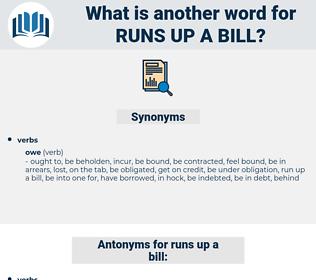 runs up a bill, synonym runs up a bill, another word for runs up a bill, words like runs up a bill, thesaurus runs up a bill