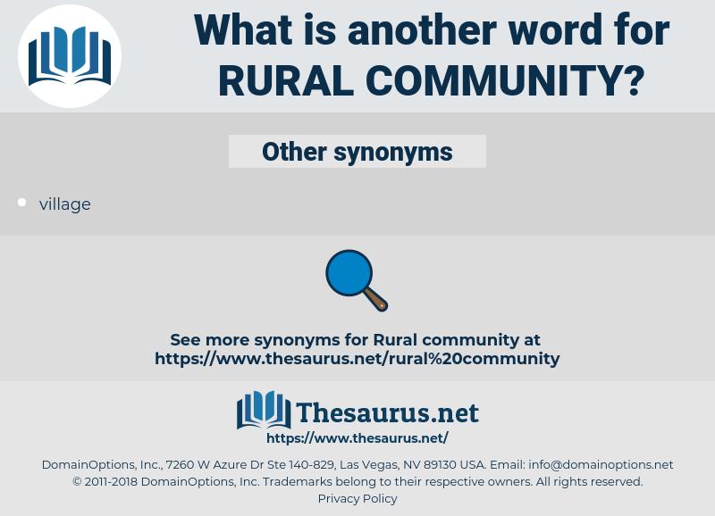Synonyms For Rural Community Thesaurusnet