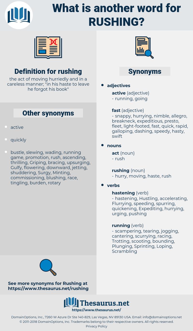 rushing, synonym rushing, another word for rushing, words like rushing, thesaurus rushing
