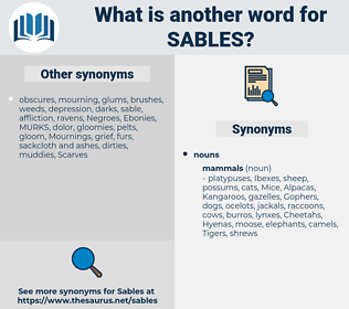 sables, synonym sables, another word for sables, words like sables, thesaurus sables
