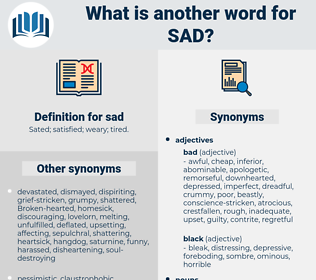 sad, synonym sad, another word for sad, words like sad, thesaurus sad
