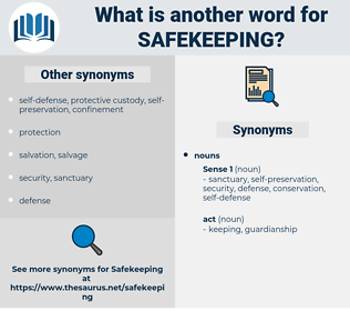 safekeeping, synonym safekeeping, another word for safekeeping, words like safekeeping, thesaurus safekeeping