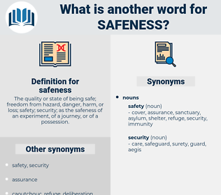 safeness, synonym safeness, another word for safeness, words like safeness, thesaurus safeness