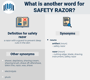 safety razor, synonym safety razor, another word for safety razor, words like safety razor, thesaurus safety razor