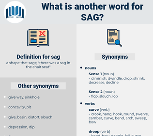 sag, synonym sag, another word for sag, words like sag, thesaurus sag