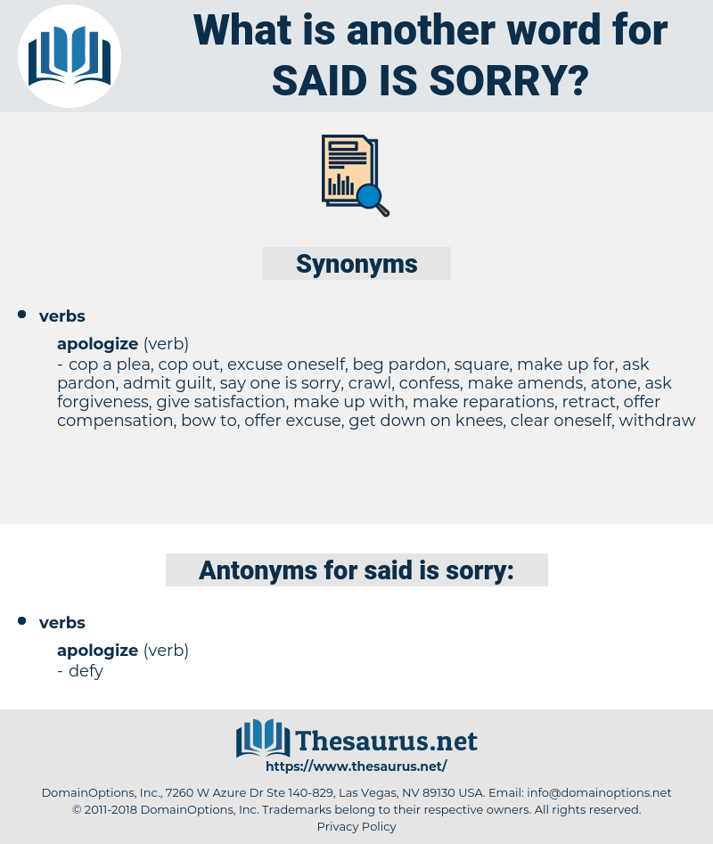 said is sorry, synonym said is sorry, another word for said is sorry, words like said is sorry, thesaurus said is sorry