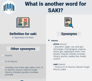 saki, synonym saki, another word for saki, words like saki, thesaurus saki