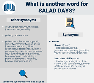 salad days, synonym salad days, another word for salad days, words like salad days, thesaurus salad days