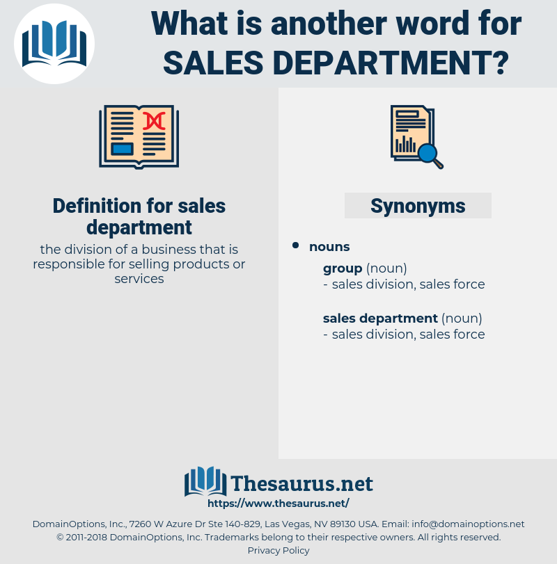 sales department, synonym sales department, another word for sales department, words like sales department, thesaurus sales department
