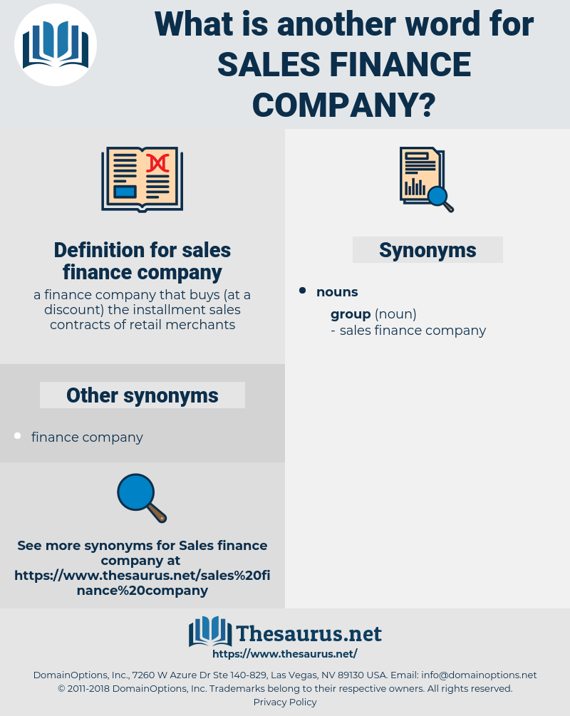 sales finance company, synonym sales finance company, another word for sales finance company, words like sales finance company, thesaurus sales finance company