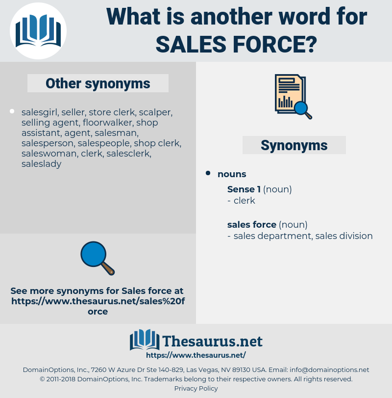 sales force, synonym sales force, another word for sales force, words like sales force, thesaurus sales force