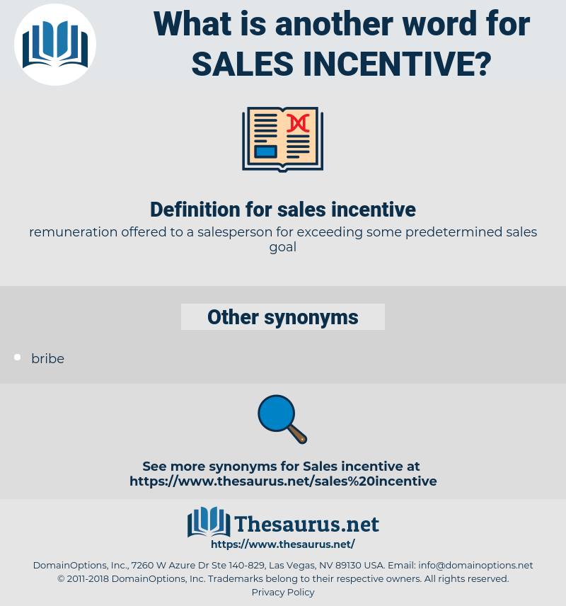 sales incentive, synonym sales incentive, another word for sales incentive, words like sales incentive, thesaurus sales incentive