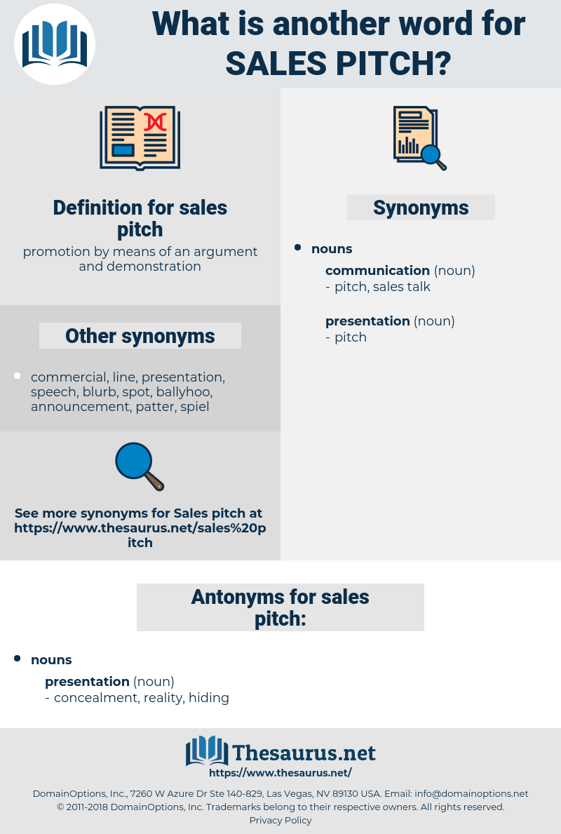 sales pitch, synonym sales pitch, another word for sales pitch, words like sales pitch, thesaurus sales pitch