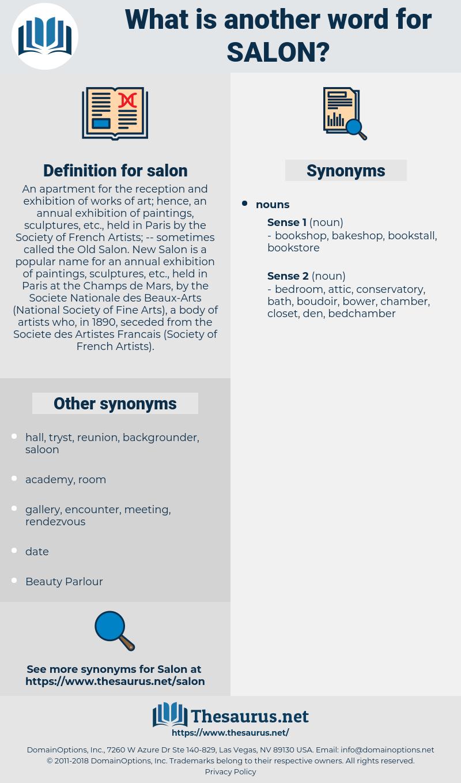salon, synonym salon, another word for salon, words like salon, thesaurus salon