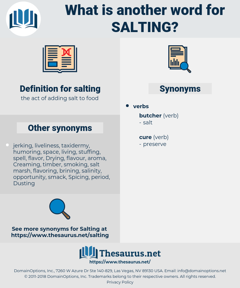 salting, synonym salting, another word for salting, words like salting, thesaurus salting