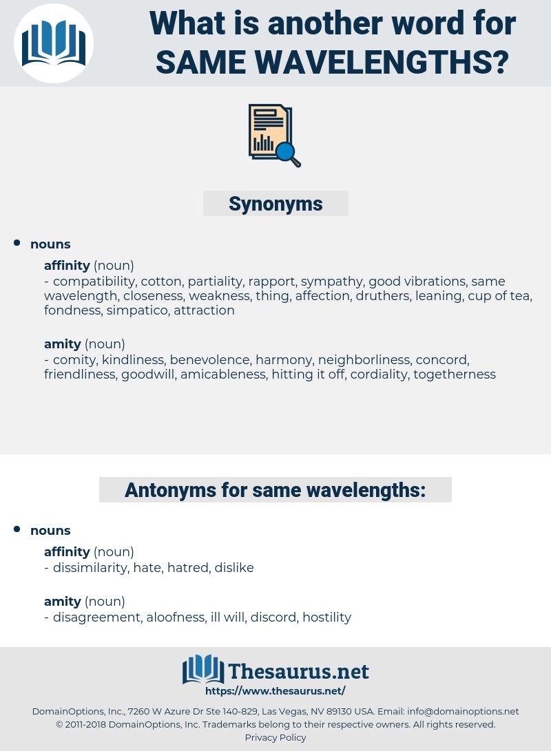 same wavelengths, synonym same wavelengths, another word for same wavelengths, words like same wavelengths, thesaurus same wavelengths