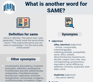 same, synonym same, another word for same, words like same, thesaurus same