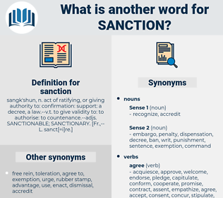 sanction, synonym sanction, another word for sanction, words like sanction, thesaurus sanction